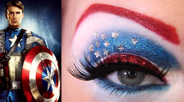 maquillaje ojos capitan america