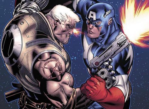 Detalle de Cable contra el Capitán América en Avengers X-Sanction
