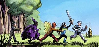 Los niños soñando ser superhéroes