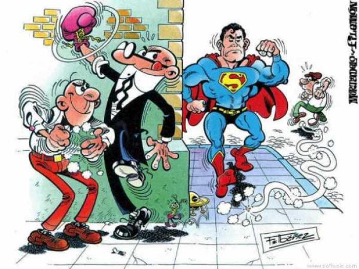 mortadelo-y-filemon-pegan-a-Superman
