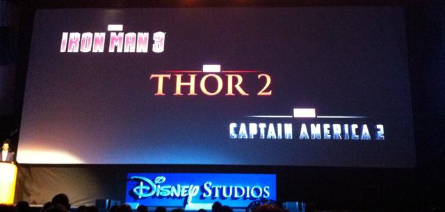 Logos de Iron Man 3, Capitán América 2 y Thor 2