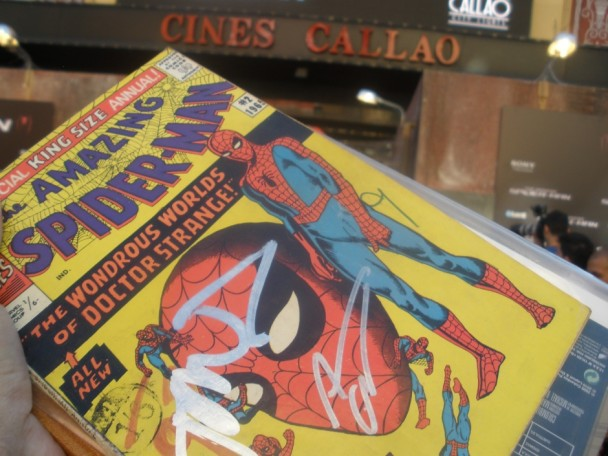 Comic firmado en premier de The Amazing Spider-man en Madrid