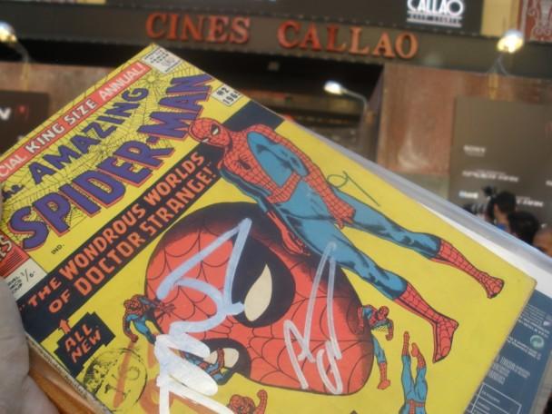 Comic firmado en premier de The Amazing Spider-man en Madrid