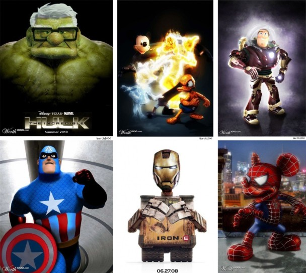 marvel pixar up iron man hulk wall e