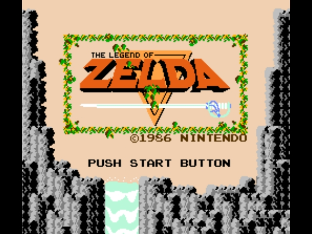 Menú de inicio de The Legend of Zelda (1986)