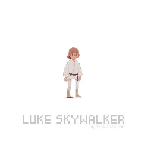Arte en pixeles de Luke Skywalker