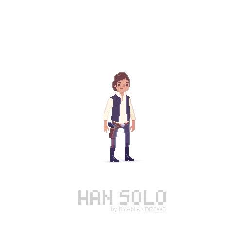 Arte en pixeles de Han Solo