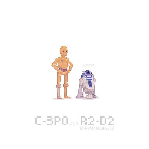 Arte en pixeles de C-3PO Y R2-D2