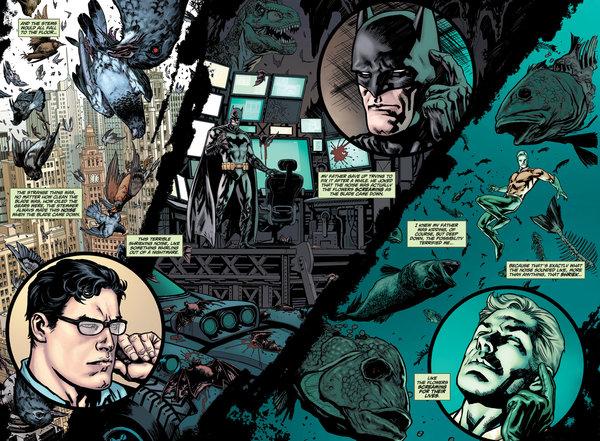 swamp thing batman aquaman superman