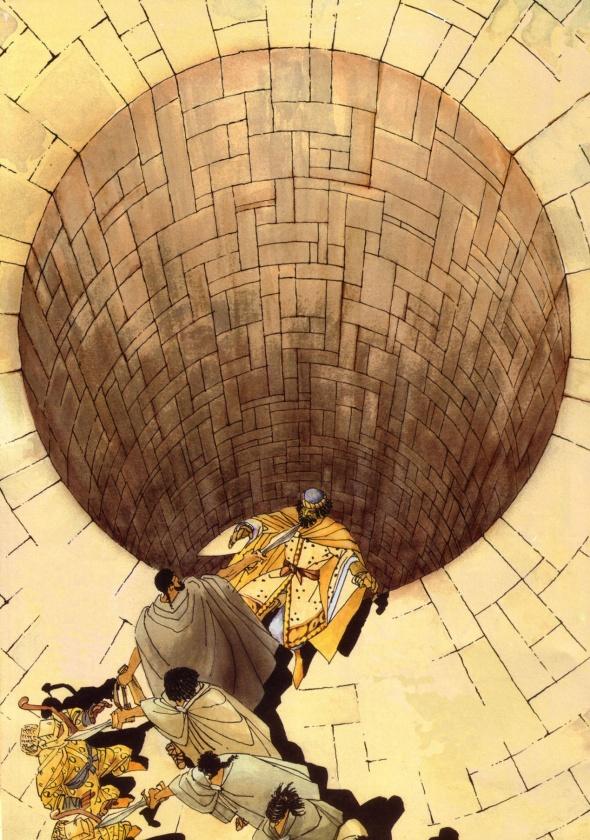 Leónidas conversando con el emisario persa