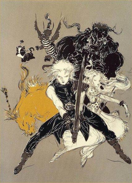 Cloud, Aerith y Red, ilustración de Yoshitaka Amano