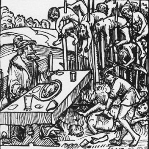 Grabado de 1499 que muestra a Vlad Tepes con sus víctimas