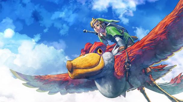 Link volando en Zelda Skyward Sword