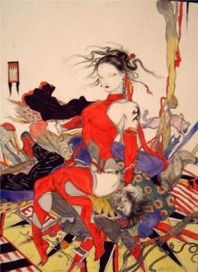 Lobezno y Elektra, de Yoshitaka Amano