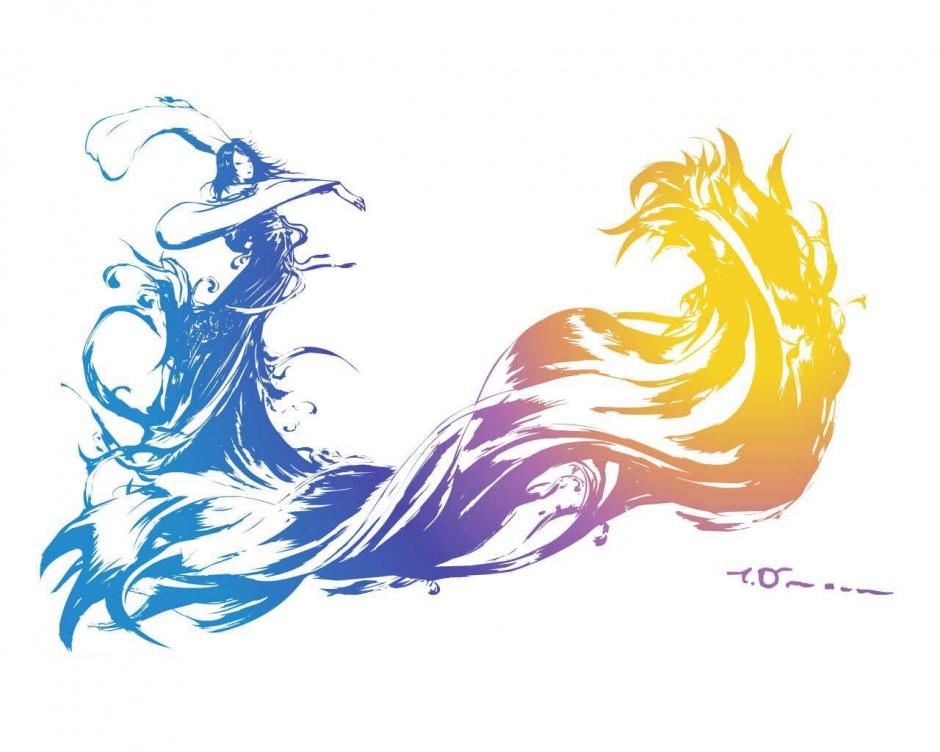 logo final fantasy x yoshitaka amano