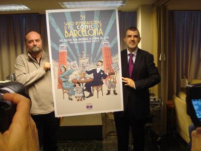 Antoni Guiral y Carles Santamaria presentando el cartel