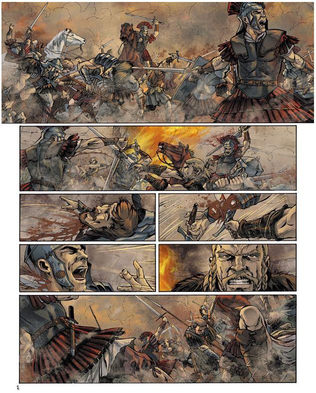 Accipiter liderando a los Alamanes contra los Romanos