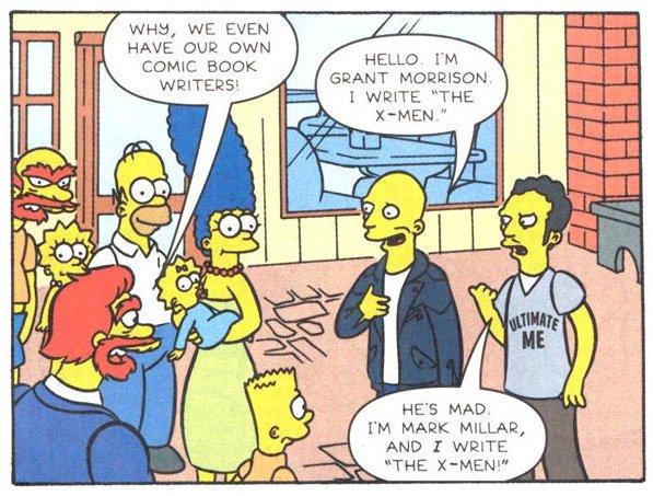 Mark Millar, junto a su amigo Morrison, en los Simpsons