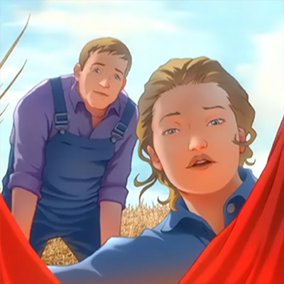 "El matrimonio Kent cuando descubre a Kal-El en la película ""All Star Superman"""