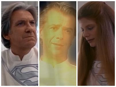 """David Warner, François Giroday y Eliza Roberts en la serie """"Lois y Clark: las nuevas aventuras de Superman"""" (1993)"""