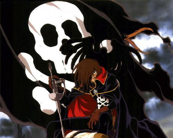 El capitán Harlock junto su bandera pirata y su fiel pájaro