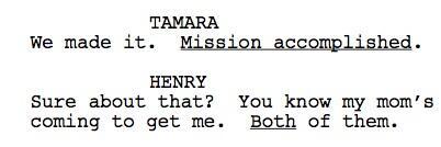 Extracto del guión de la premiere