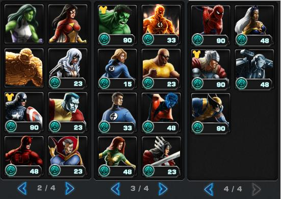 Parte del elenco superheróico de Marvel Avengers Alliance