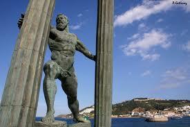 Hércules separando las columnas que señalaban el límite del mundo conocido