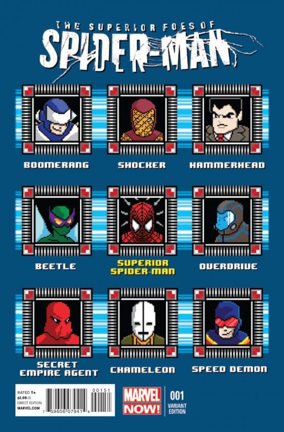 Aquí vemos una portada de The Superior Foes of Spider-Man nº 1 que homenajea el clásico selector de niveles de la saga Mega Man