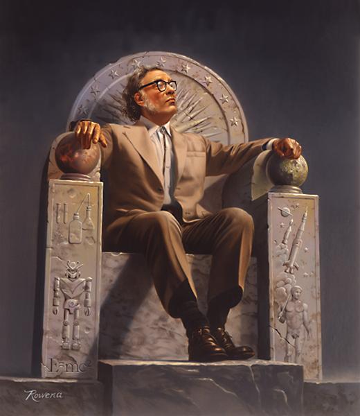 Isaac Asimov representado en un trono de símbolos según la visión de Rowena Morril