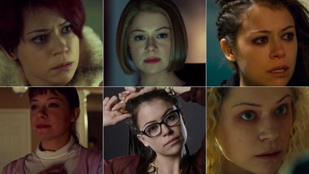 Tatiana Maslany caracterizada como 6 personajes diferentes
