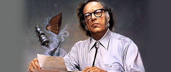 Representación de Asimov con los conocimientos que plasmó en sus obras