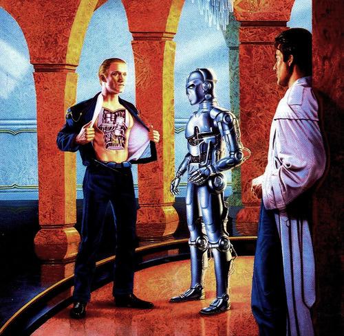 Ilustración basada en una escena donde Daneel Olivaw demuestra su naturaleza robótica