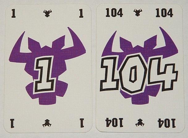 Las cartas van del 1 al 104