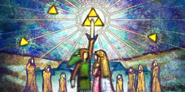 A-Link-Between-Worlds-pintura-link-con-zelda