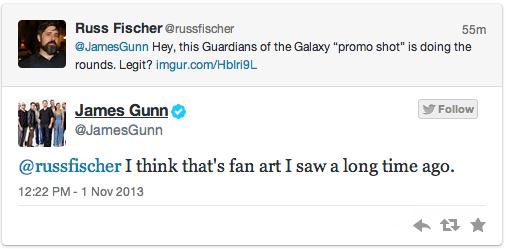 Captura Twitter James Gunn Guardianes de la Galaxia