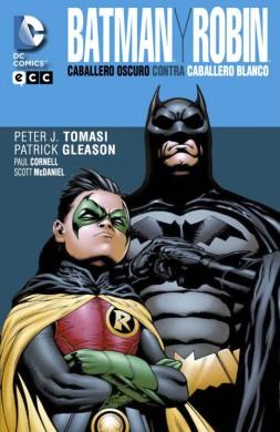 Portada de Batman y Robin: El Caballero Oscuro contra el Caballero Blanco, de ECC ediciones