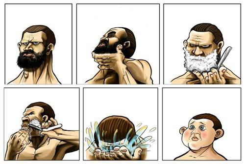 comic-hombre-se-afeita-y-parece-un-niño