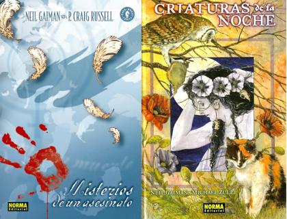 Misterios de un Asesinato y Criaturas de la noche de Neil Gaiman editados por Norma Editorial