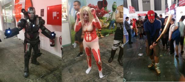 Cosplays de Iron Man, El titán hembra de Ataque a los Titanes y el chico del bate de Paranoia Agent