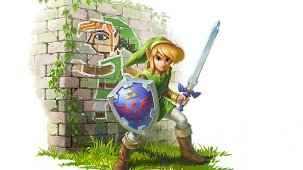 link between worlds link con espada y link pintado