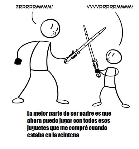 padre-jugando-con-niño-con-espadas-laser