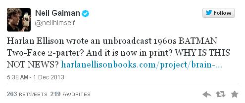Imagen twitter Neil Gaiman guión inédito Batman