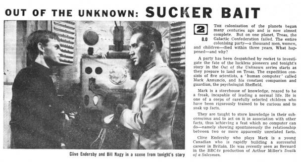 "Recorte de periódico acerca de un capítulo de ""Out Of The Unknown"" basado en un relato de Asimov"