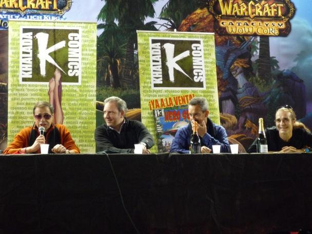 Azpiri, Olivetti, Risso y Motta en la presentación de Khalada Comics