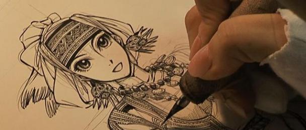 Proceso de dibujo de Amira de Bride Stories (Otoyomegatari) de Kaoru Mori, el manga editado por Norma Editorial novedad del XIX Salón del Manga en 2013