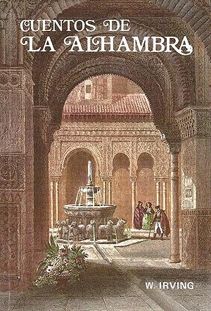 """Portada antigua de una edición de los """"Cuentos de la Alhambra"""""""
