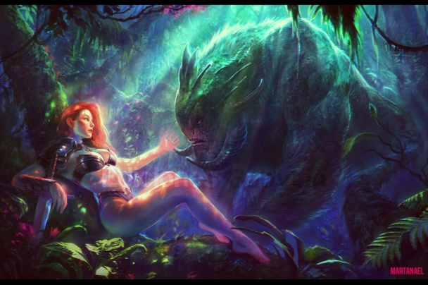 resting warrior and the forest monster marta nael