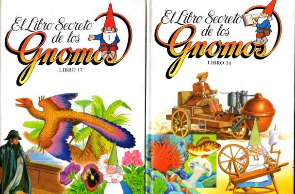 """Portadas de dos tomos de """"El Libro Secreto de los Gnomos"""""""