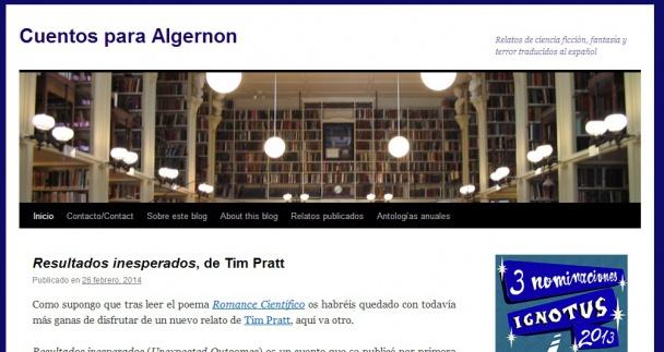 Cuentos para Algernon, blog nominado al Ignotus